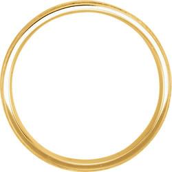 Flat Edge Milgrain Comfort Fit Brushed Yellow Gold Men's Band through view - 51538
