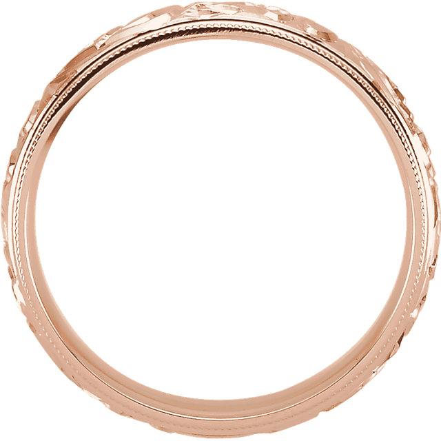 Design Sculptured Milgrain 6mm Band Rose Gold through view - 50066