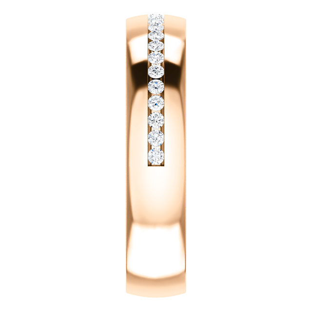 Rose Gold Diamond Center Accented Band 1.7 mm accent stones side view - 123307