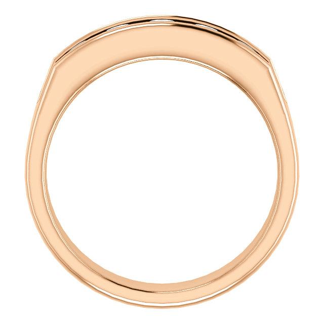 Five Stone 3.8mm Round Diamond Men's Band Rose Gold through view - 122785