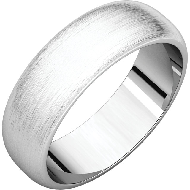 Half Round Men's Band White Gold Brushed finish