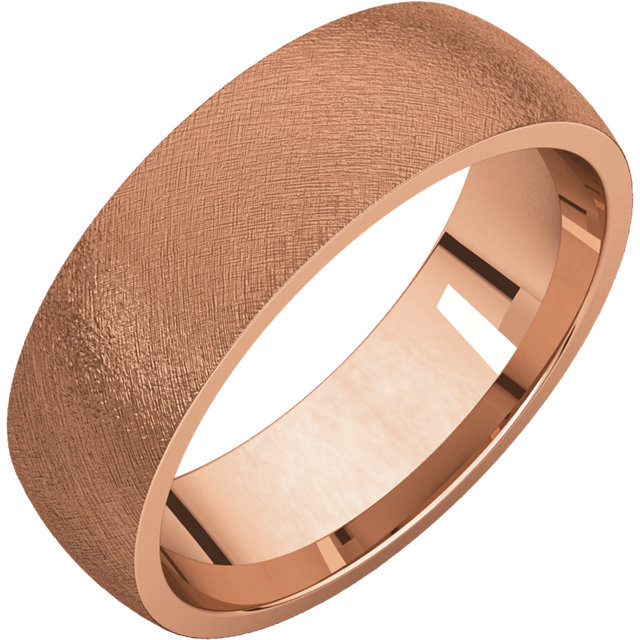 Comfort Fit Light Rose Gold Men's Band Ice finish