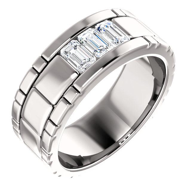 Three Stone Band Emerald Cut Diamonds - 123522