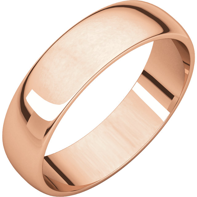 Half Round Light Men's Band Rose Gold