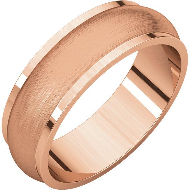 Half Round Edge Men's Band Rose Gold Brushed Finish