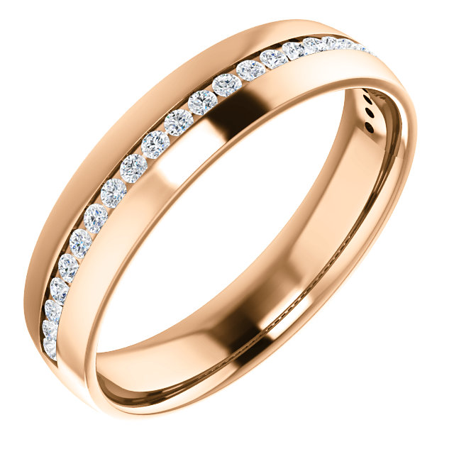 Rose Gold Diamond Center Accented Band 1.7 mm accent stones - 123307