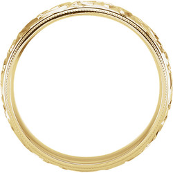 Design Sculptured Milgrain 6mm Band Yellow Gold through view - 50066