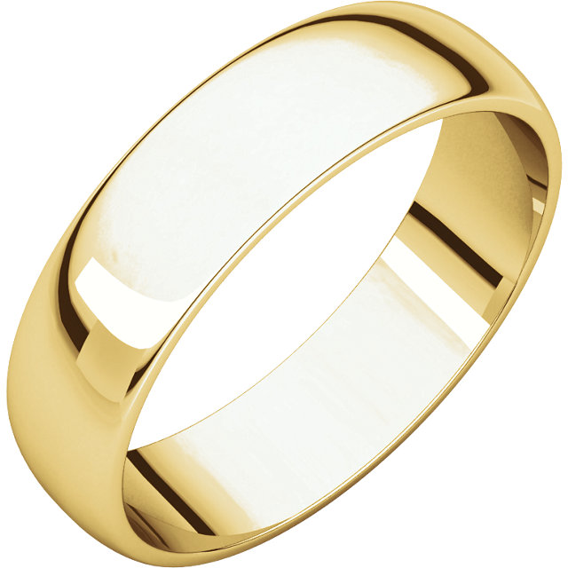 Half Round Light Men's Band Yellow Gold