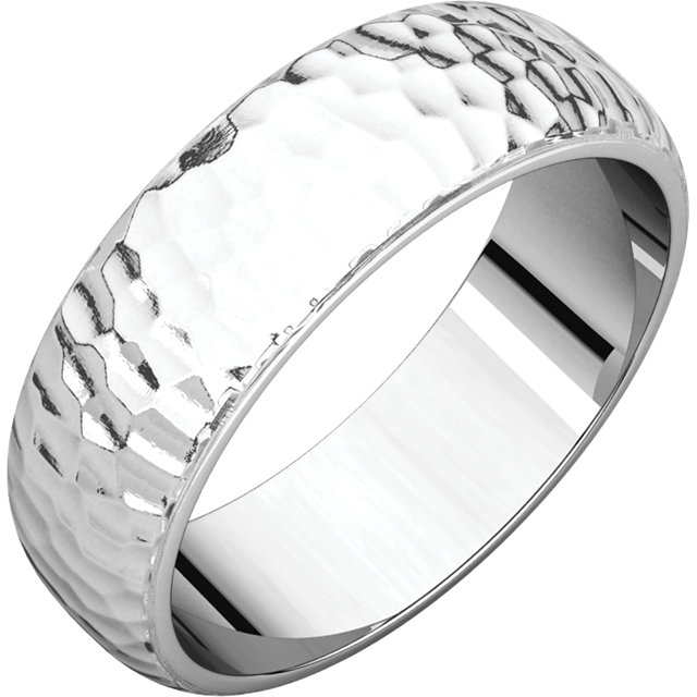 Half Round Men's Band White Gold Hammered finish