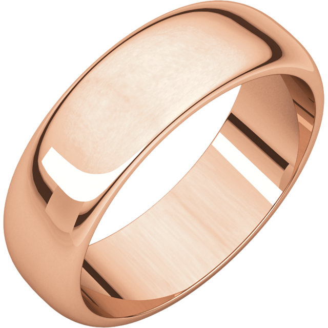 Half Round Men's Band Rose Gold
