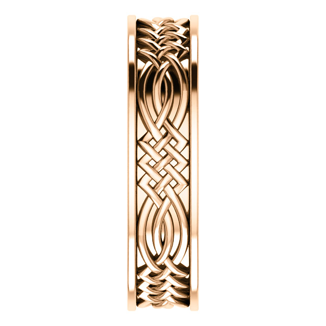 Celtic Inspired Rose Gold Men's Band side view -51838
