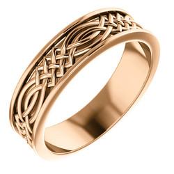 Celtic Inspired Rose Gold Men's Band - 51838