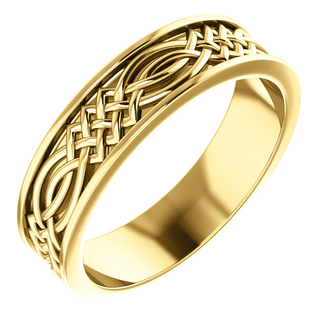 Celtic Inspired Yellow Gold Men's Band - 51838