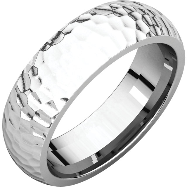 Comfort Fit White Gold Men's Band Hammered finish