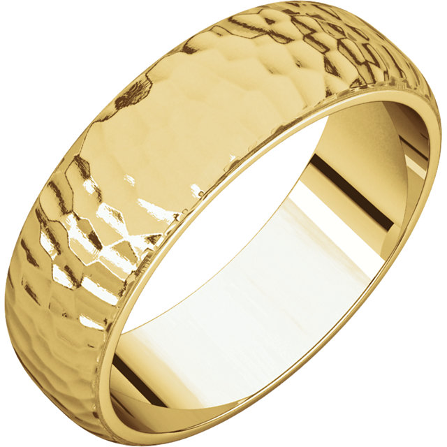 Half Round Men's Band Yellow Gold Hammered finish