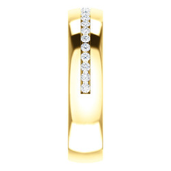 Yellow Gold Diamond Center Accented Band 1.7 mm accent stones side view - 123307