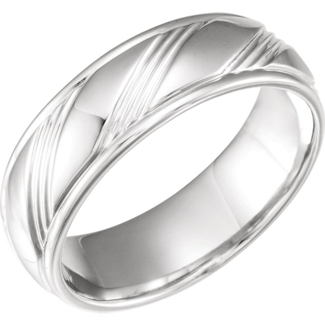 White Gold Fancy 6.5 mm Wedding Band - 653070