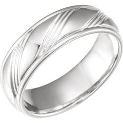 White Gold Fancy 6.5 mm Wedding Band - 653070