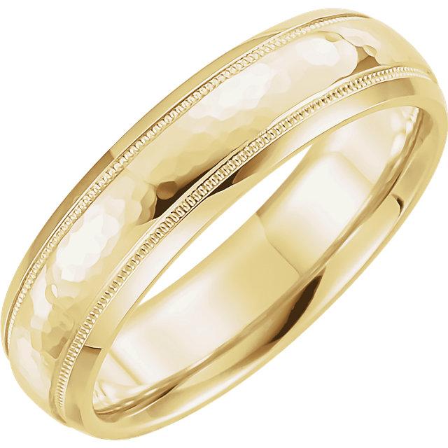 Half Round Comfort Fit Milgrain Yellow Gold Men's Band - 51542