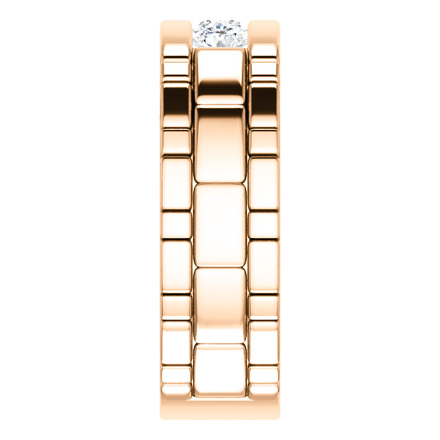 Three Stone Band 0.6 CTW Round Rose Gold side view- 123522