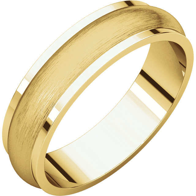 Half Round Edge Men's Band Yellow Gold Brushed finish