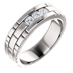 Three Stone Band Cushion Cut Diamonds - 123522