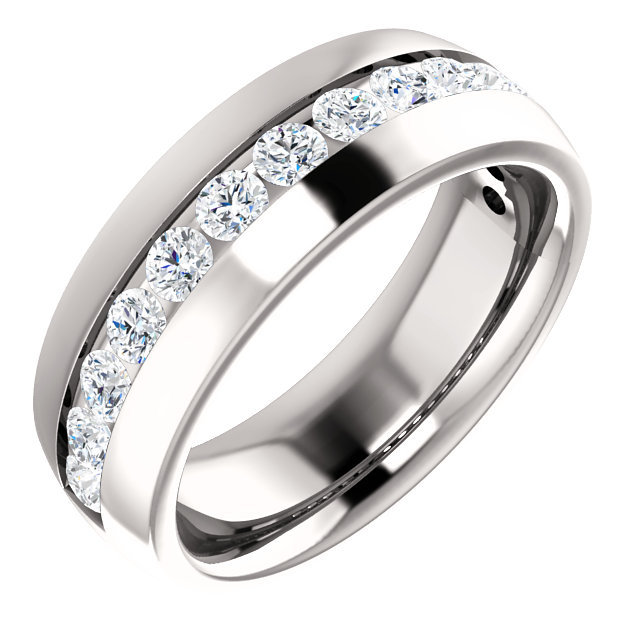 White Gold Diamond Center Accented Band 3mm accent stones - 123307