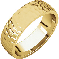 Comfort Fit Light Yellow Gold Men's Band Hammered finish