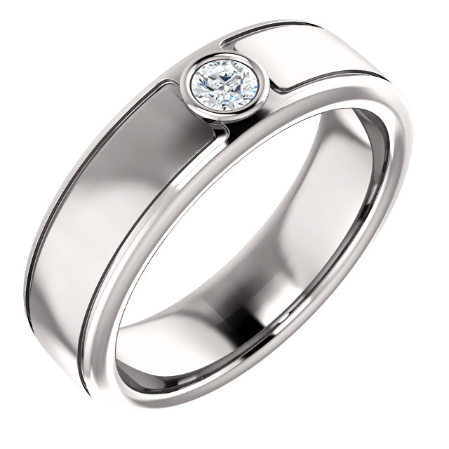 Solitaire 3mm Round Diamond .10 CTW White Gold - 123478