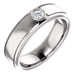Solitaire 3mm Round Diamond .10 CTW White Gold - 123478