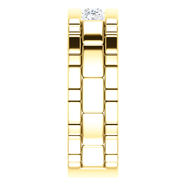 Three Stone Band 0.6 CTW Round Yellow Gold side view - 123522