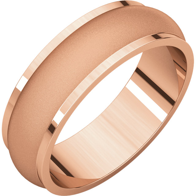 Half Round Edge Men's Band Rose Gold Glass Blast finish