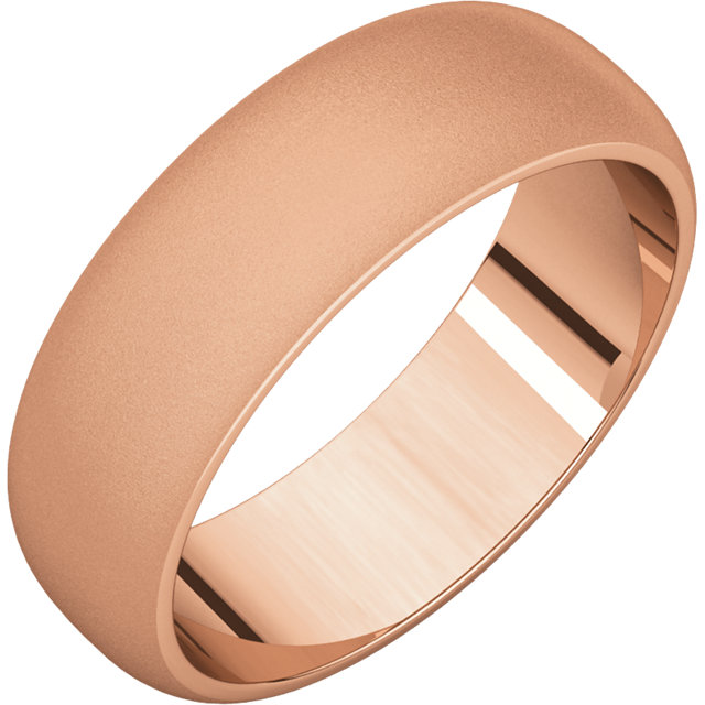 Half Round Men's Band Rose Gold Glass Blast finish