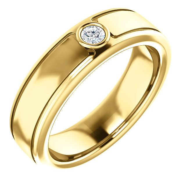 Solitaire 3mm Round Diamond .10 CTW Yellow Gold - 123478
