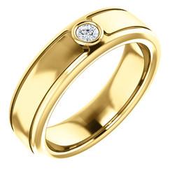 Solitaire 3mm Round Diamond .10 CTW Yellow Gold - 123478
