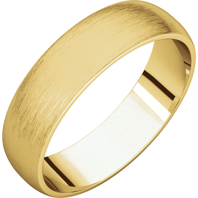 Half Round Light Men's Band Yellow Gold Brushed Finish