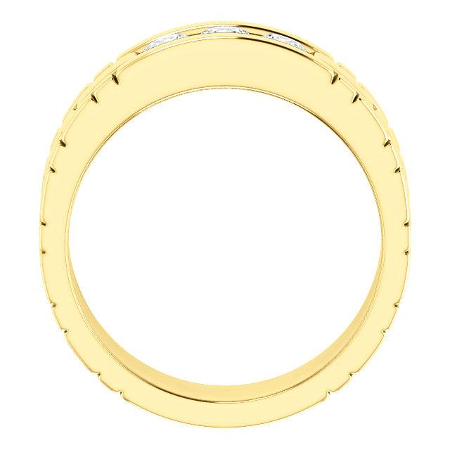 Three Stone Band 0.6 CTW Round Yellow Gold through view - 123522