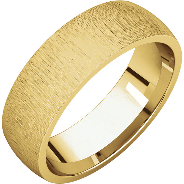 Comfort Fit Light Yellow Gold Men's Band Stone finish
