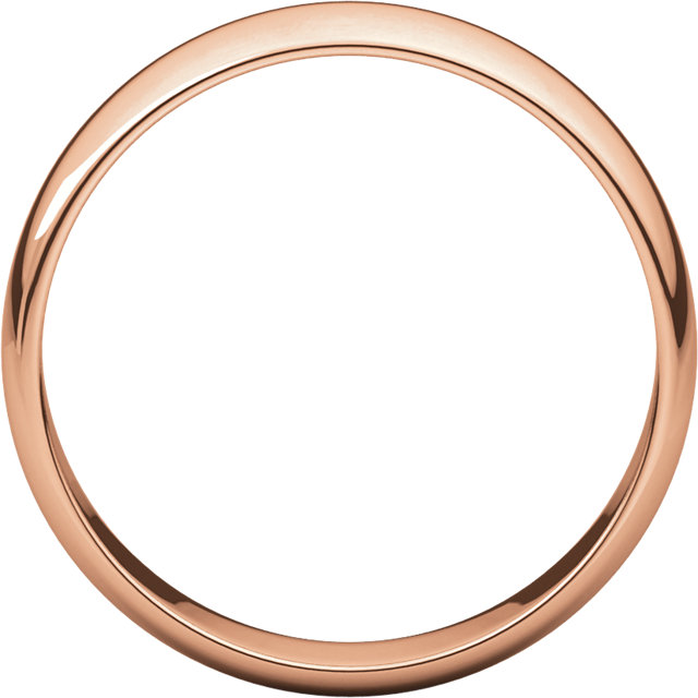 Half Round Light Men's Band Rose Gold through view