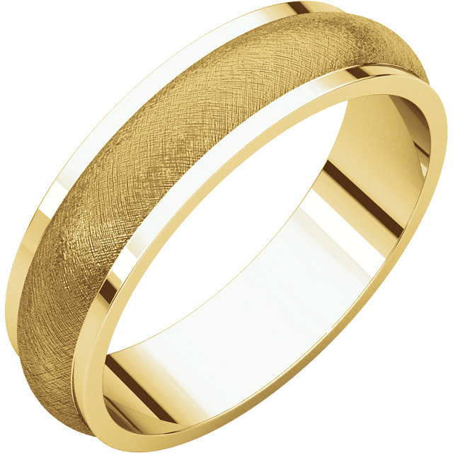 Half Round Edge Men's Band Yellow Gold Iced finish