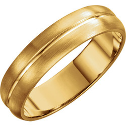 Grooved Yellow Gold Men's Band