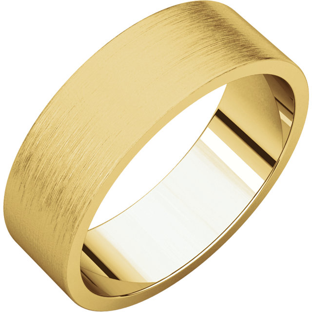 Flat Yellow Gold Band Brushed finish