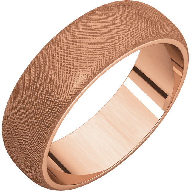 Half Round Men's Band Rose Gold Florentine finish