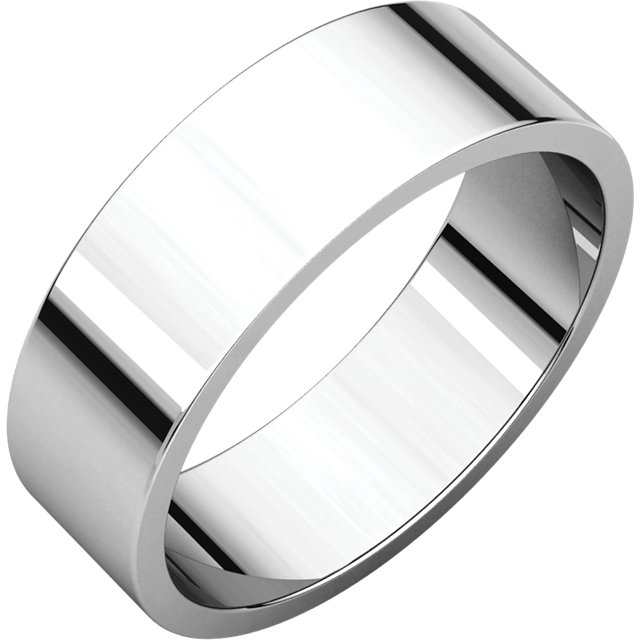 Flat White Gold Band