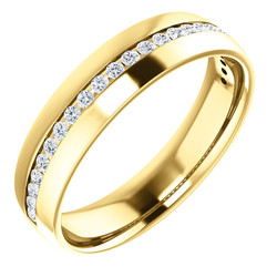 Yellow Gold Diamond Center Accented Band 1.7 mm accent stones - 123307