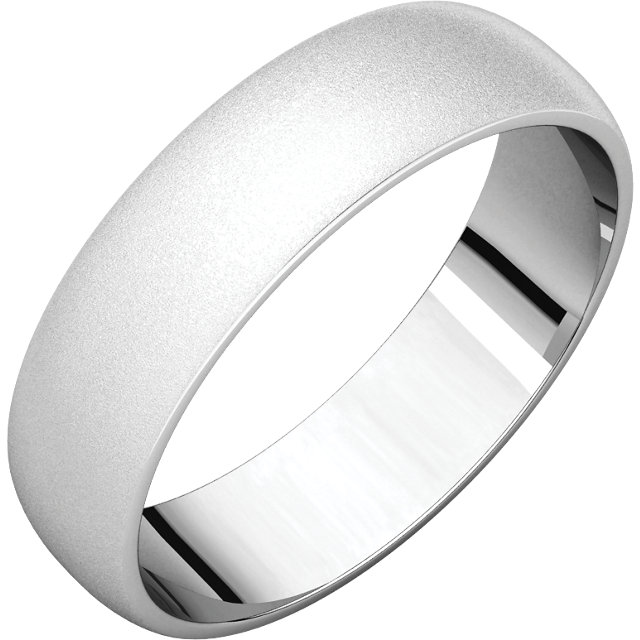 Half Round Light Men's Band White Gold Glass Blast Finish