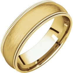 Double Milgrain Yellow Gold Band brushed finish