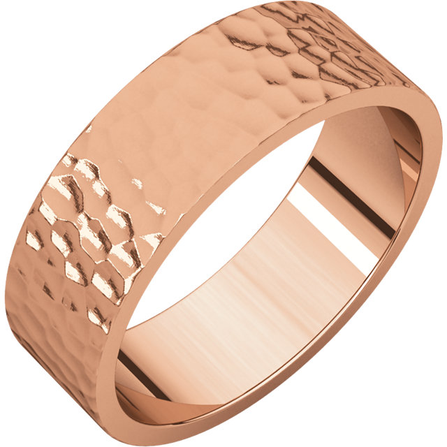 Flat Rose Gold Band Hammered finish