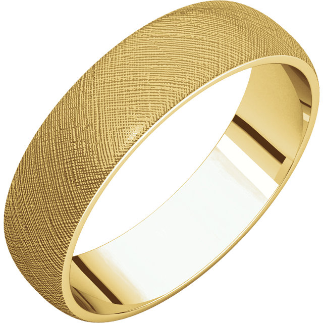 Half Round Light Men's Band Yellow Gold Florentine Finish
