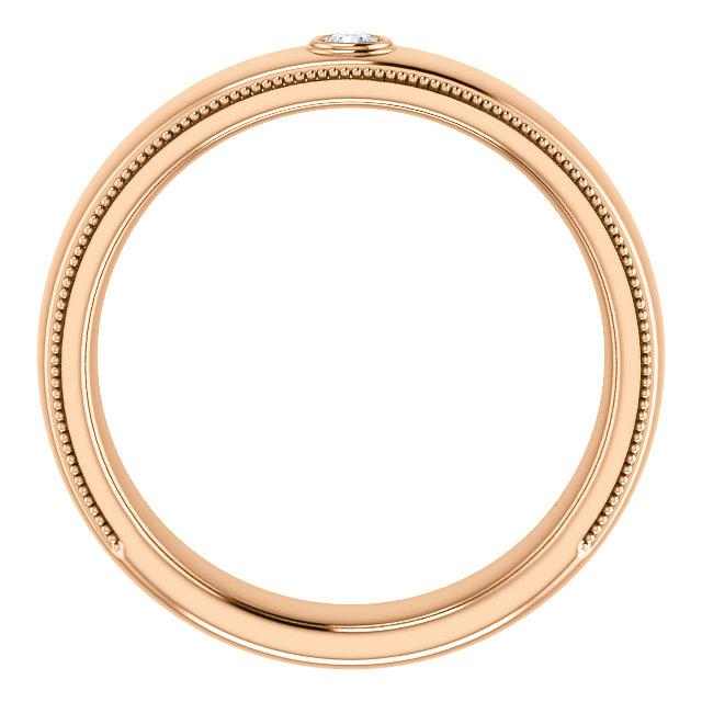 Solitaire Bezel Set Milgrain Band Rose Gold through view - 123214